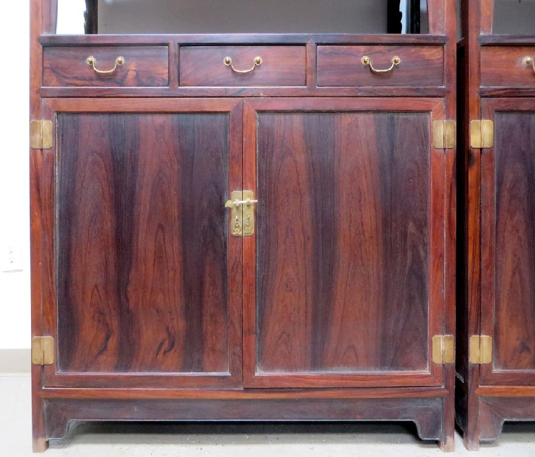 PAIR OF CHINESE DOUBLE DOOR  HUANGHUALI CABINETS - 8