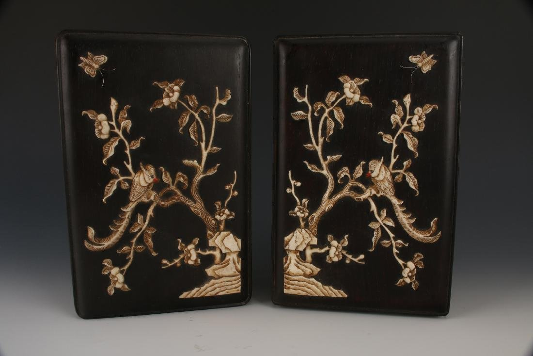 PAIR OF ZITAN INLAY BOXES