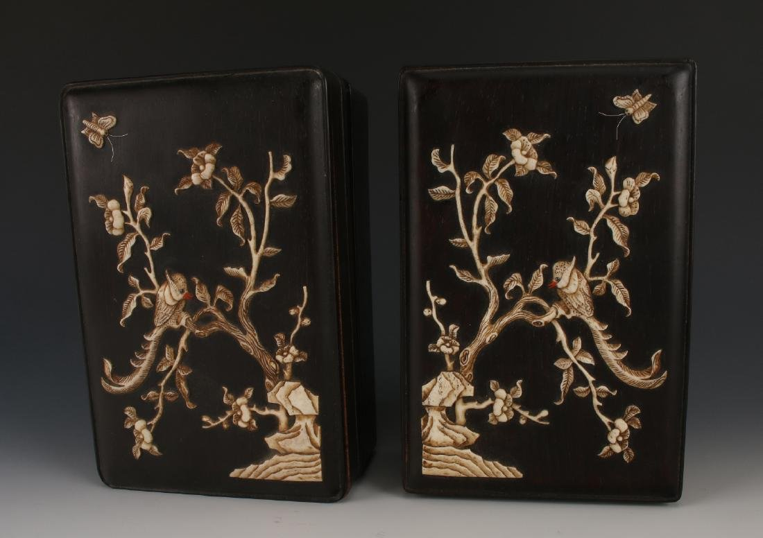 PAIR OF ZITAN INLAY BOXES - 2