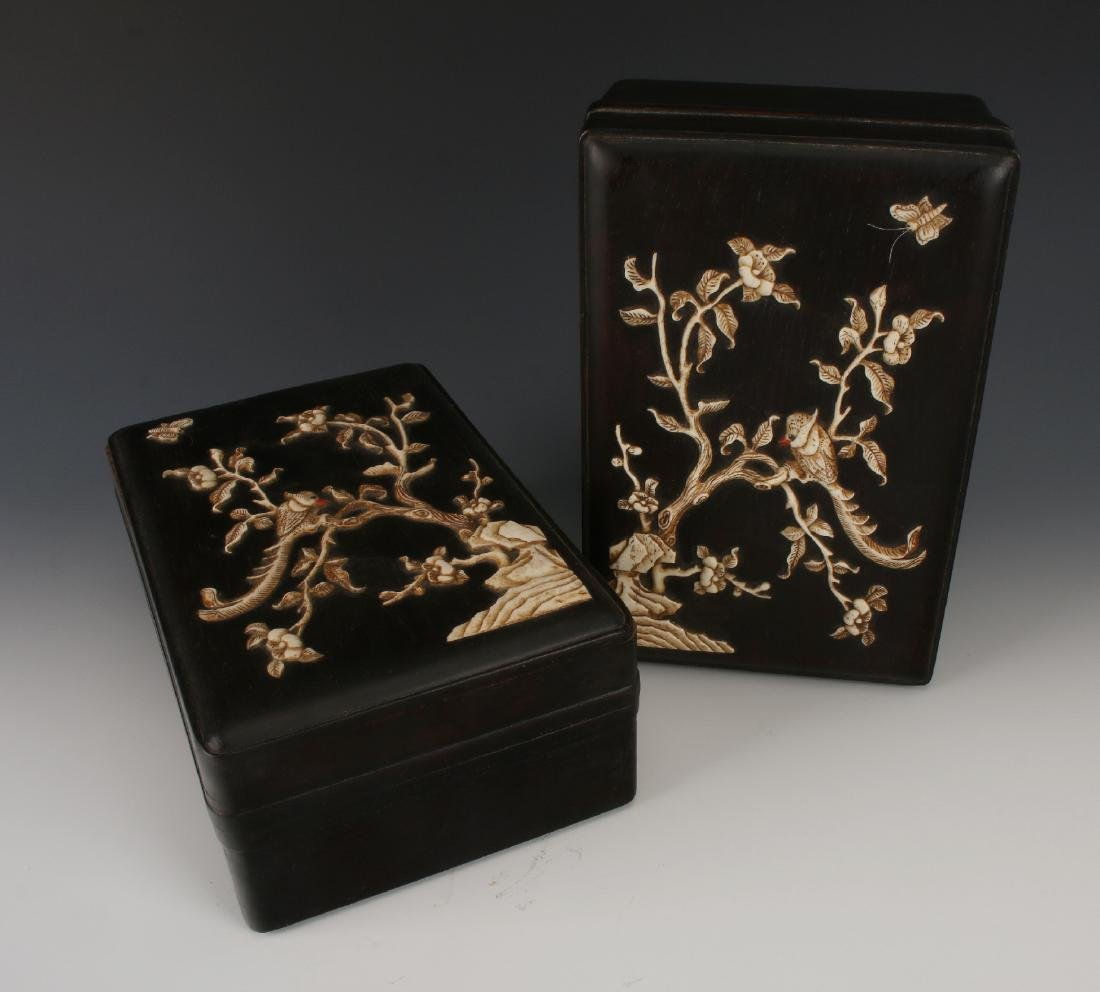PAIR OF ZITAN INLAY BOXES - 4