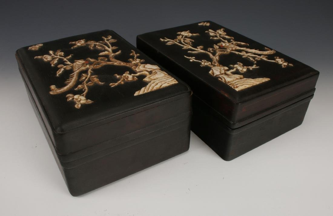 PAIR OF ZITAN INLAY BOXES - 8