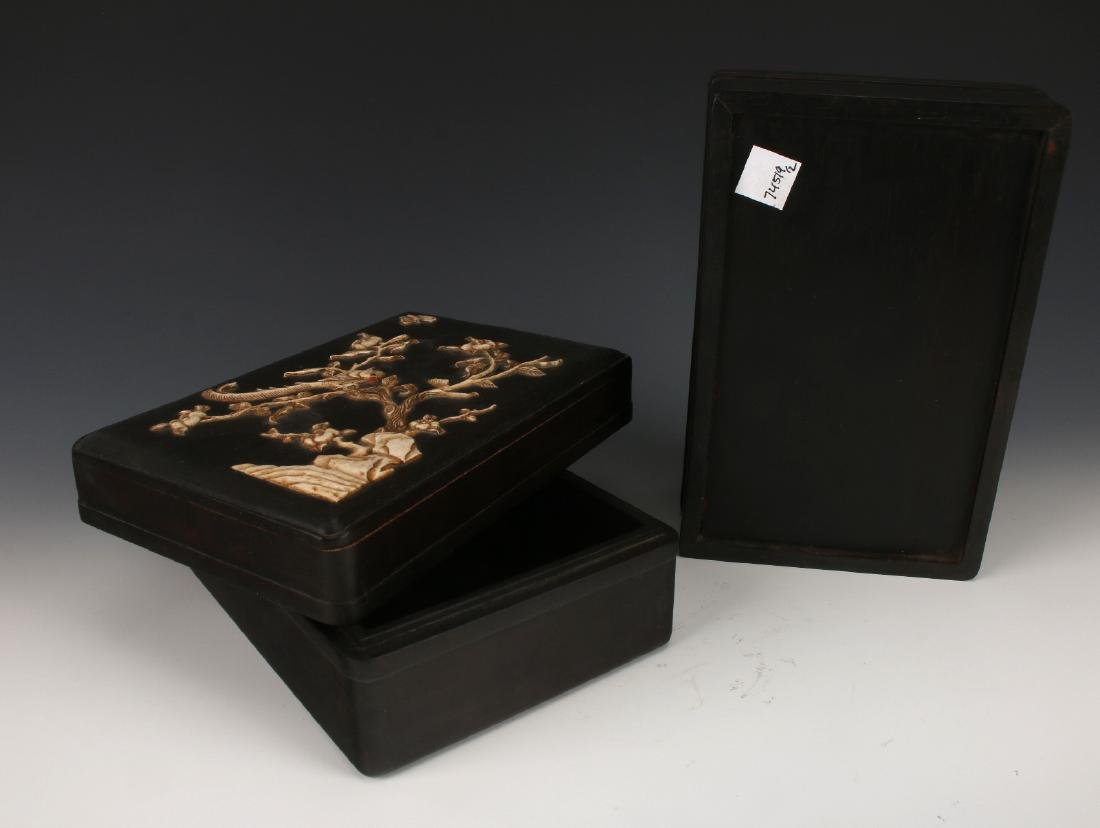 PAIR OF ZITAN INLAY BOXES - 9