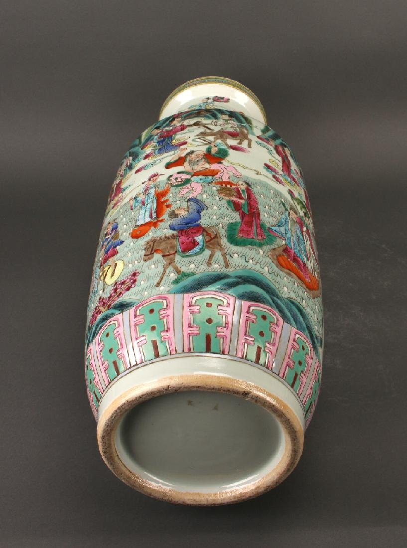 FAMILLE ROSE ROULEAU VASE WITH IMMORTALS - 10