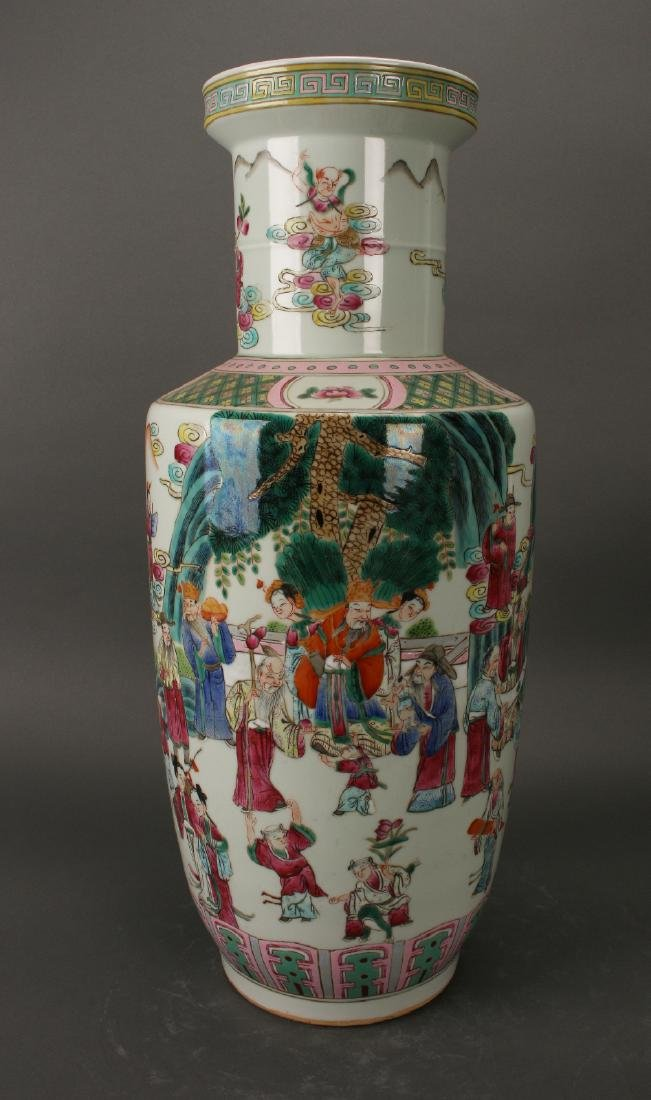 FAMILLE ROSE ROULEAU VASE WITH IMMORTALS