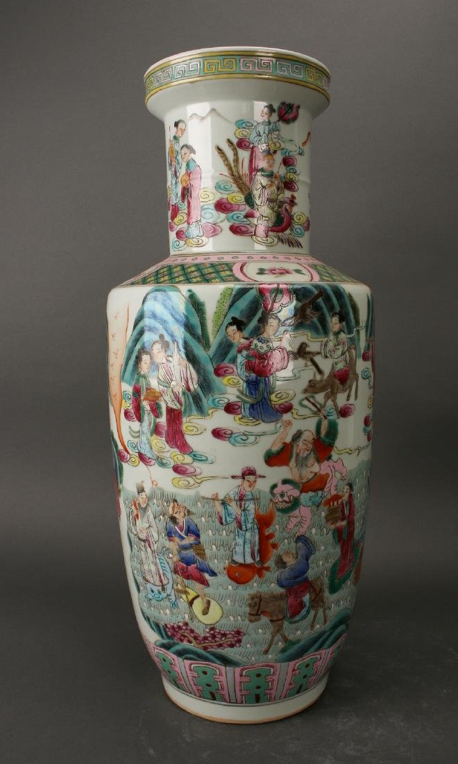 FAMILLE ROSE ROULEAU VASE WITH IMMORTALS - 2