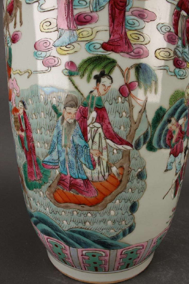 FAMILLE ROSE ROULEAU VASE WITH IMMORTALS - 3