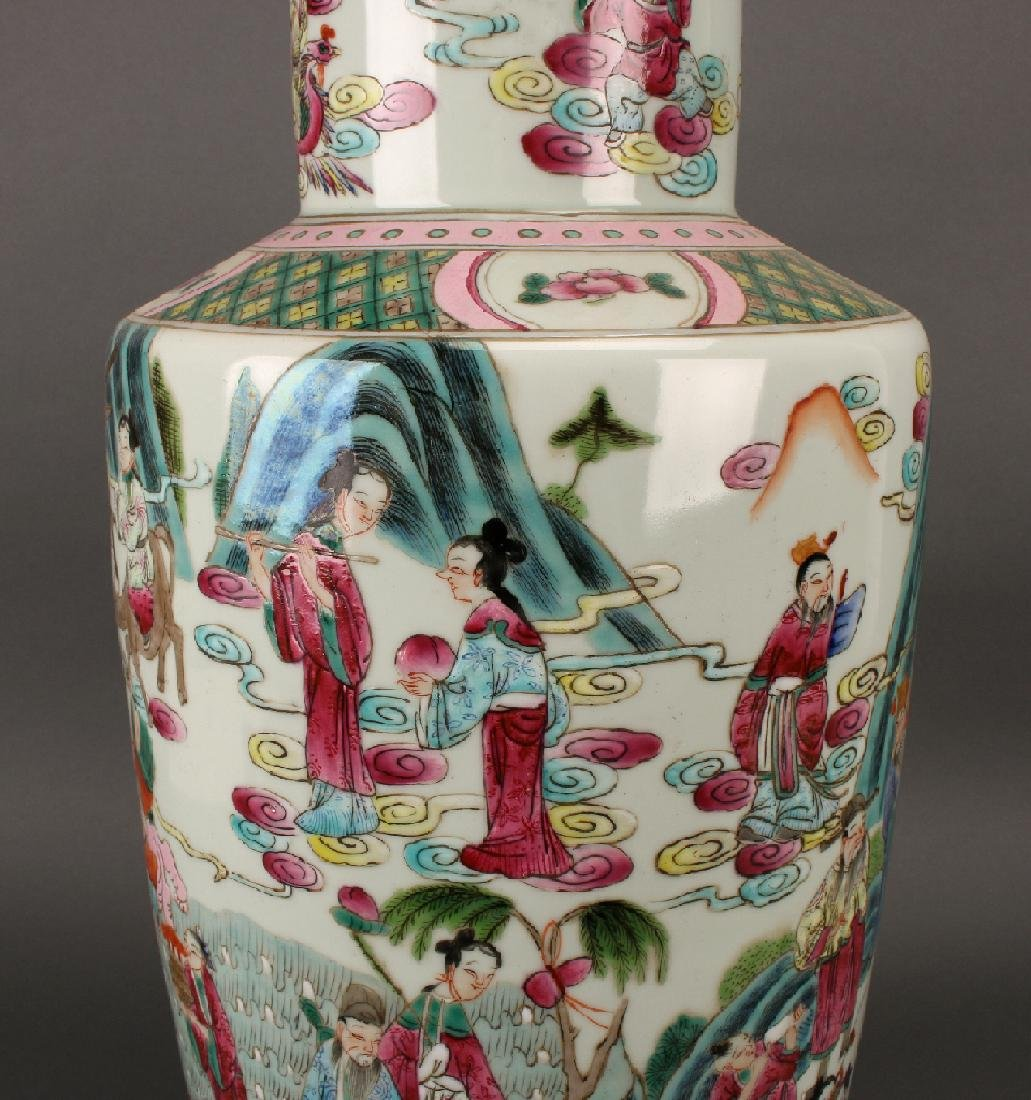 FAMILLE ROSE ROULEAU VASE WITH IMMORTALS - 4