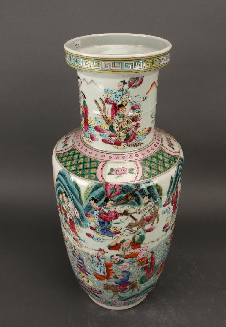 FAMILLE ROSE ROULEAU VASE WITH IMMORTALS - 5