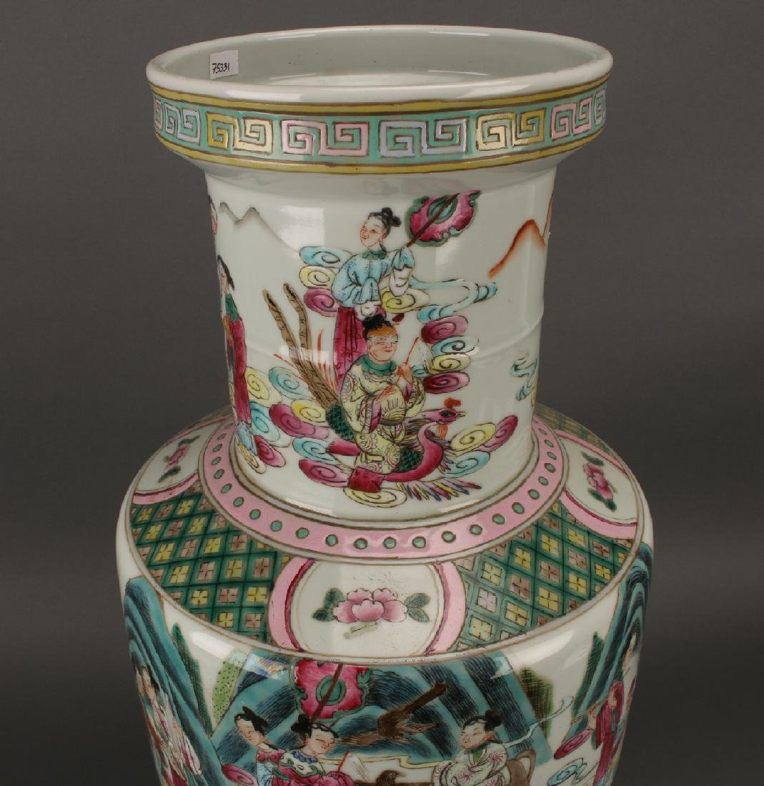 FAMILLE ROSE ROULEAU VASE WITH IMMORTALS - 6