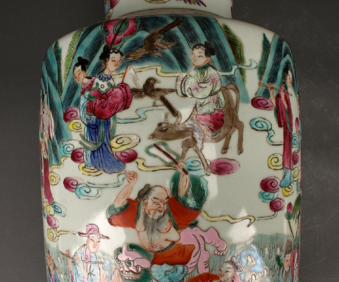 FAMILLE ROSE ROULEAU VASE WITH IMMORTALS - 7