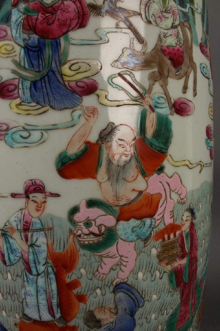 FAMILLE ROSE ROULEAU VASE WITH IMMORTALS - 9