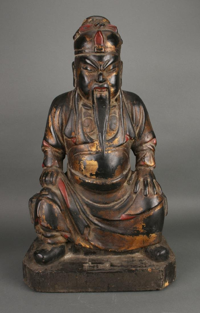 WOODEN SEATED EMPEROR STATUE