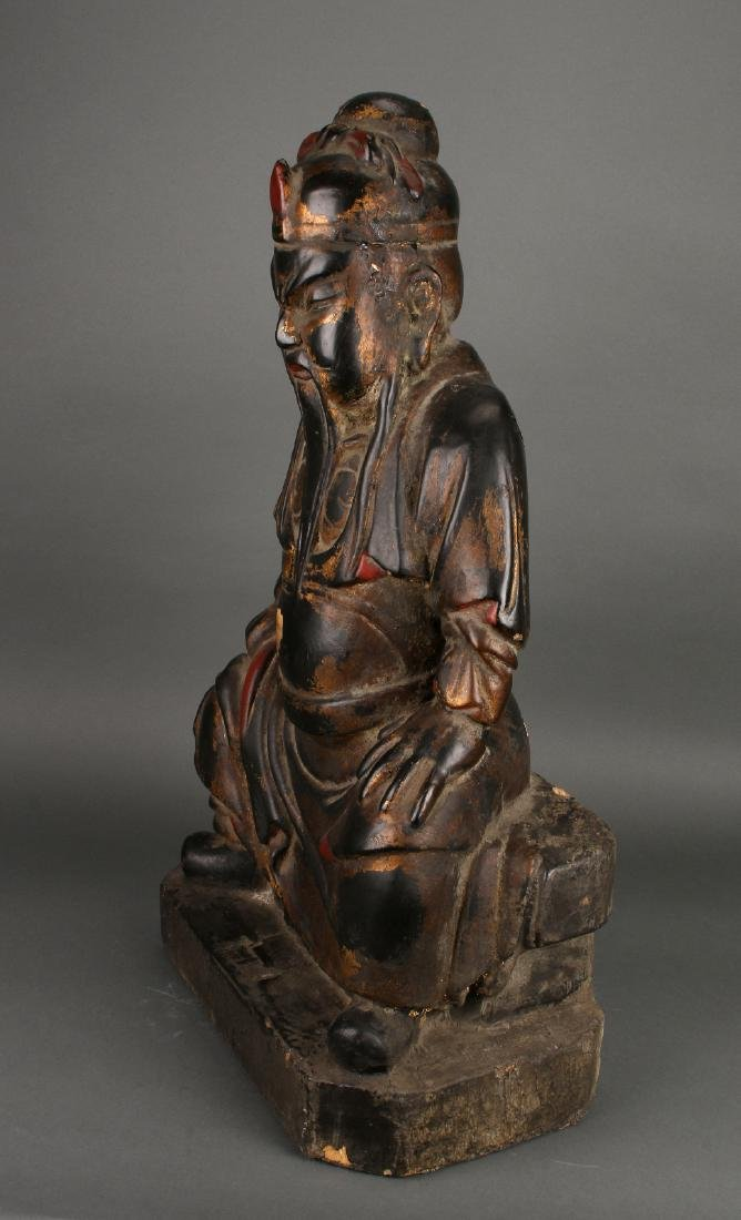 WOODEN SEATED EMPEROR STATUE - 2