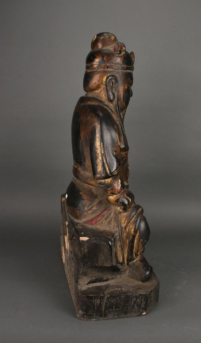 WOODEN SEATED EMPEROR STATUE - 3
