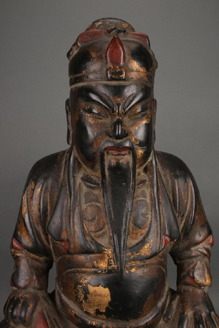 WOODEN SEATED EMPEROR STATUE - 4