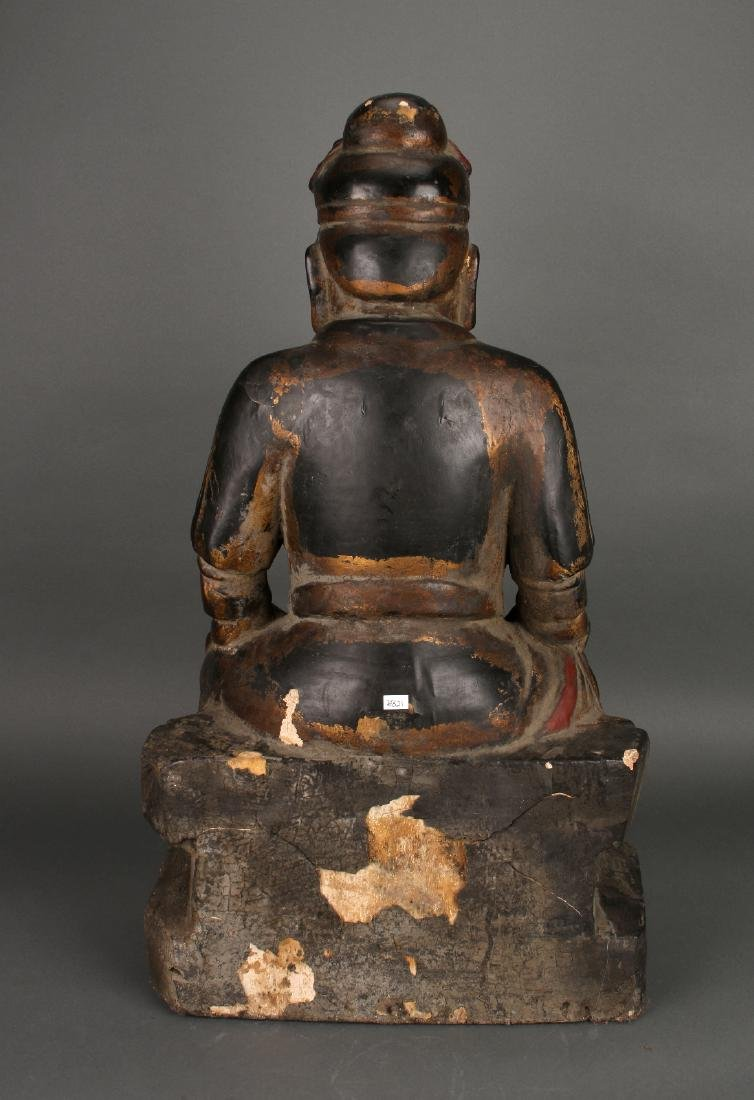 WOODEN SEATED EMPEROR STATUE - 5