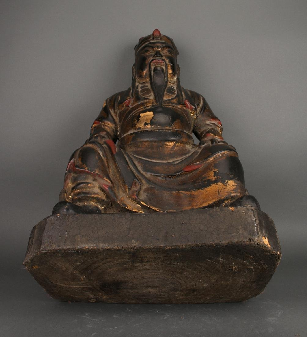 WOODEN SEATED EMPEROR STATUE - 7