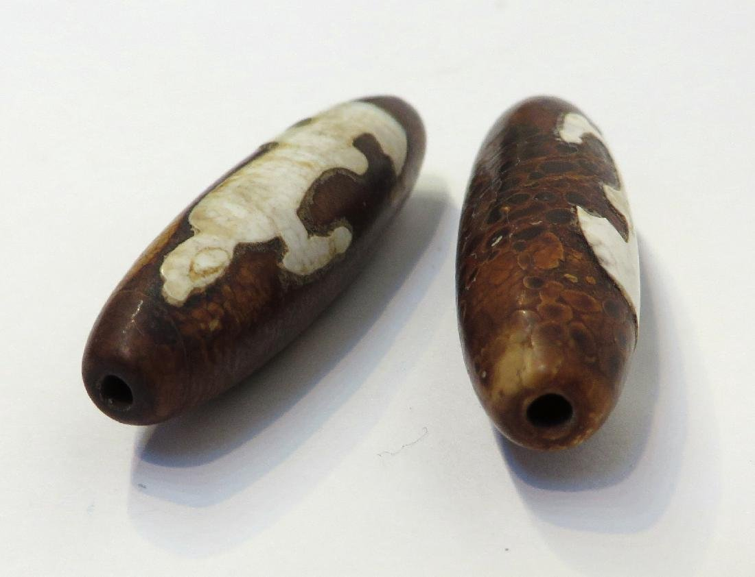 TWO GUAN YIN DZI BEADS - 2