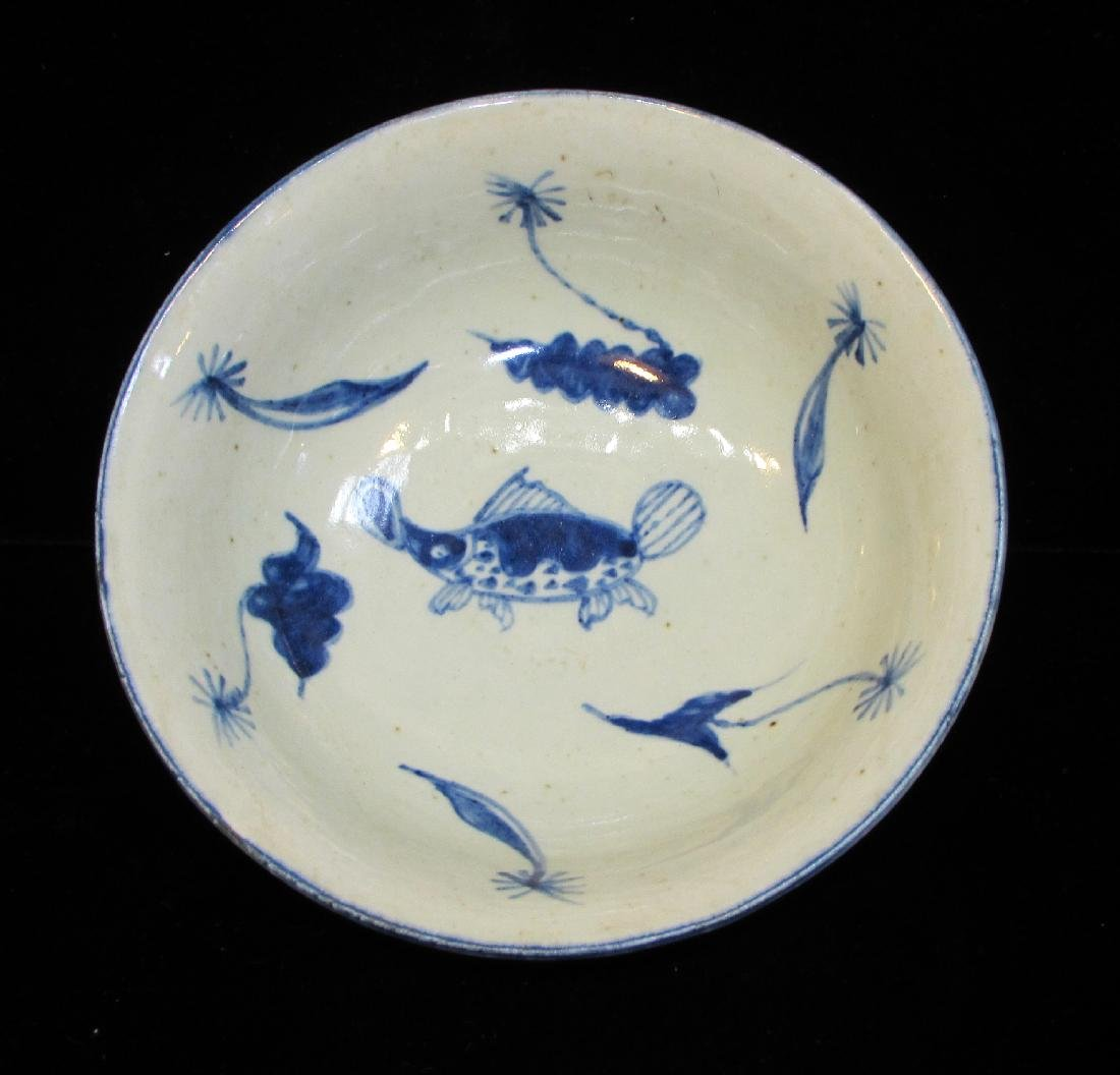 BLUE & WHITE BOWL WITH FISH