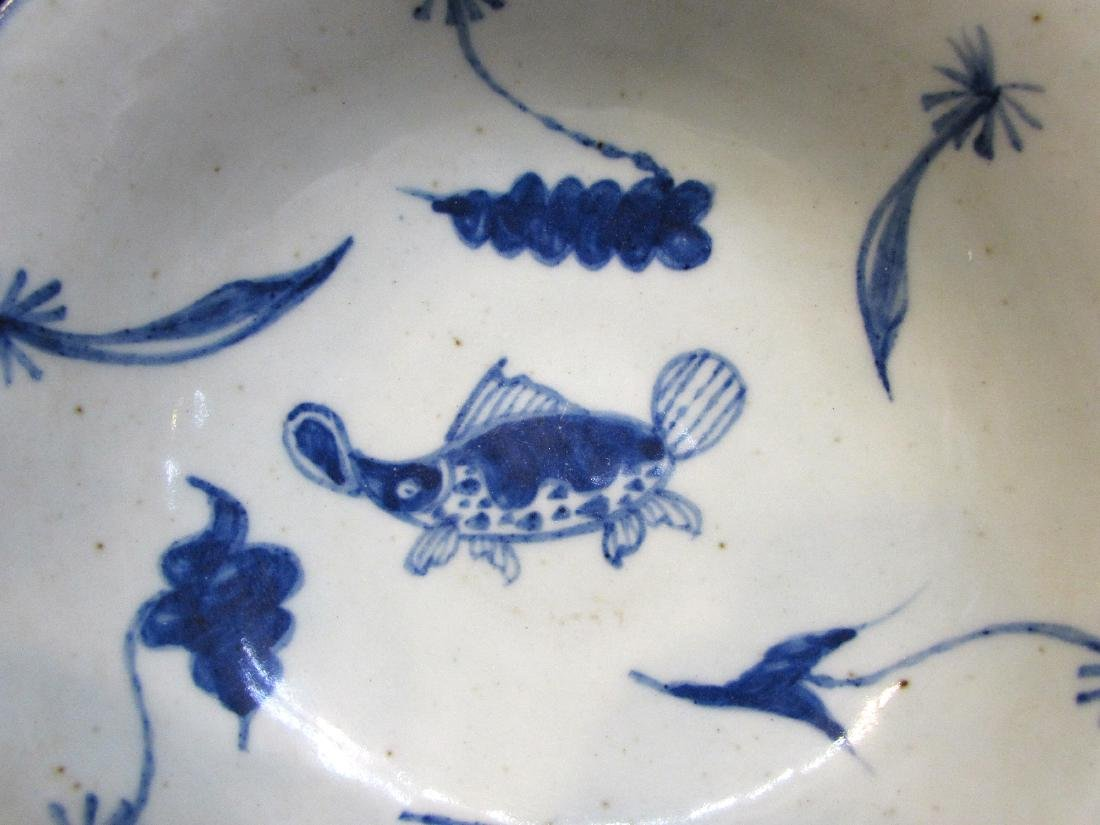BLUE & WHITE BOWL WITH FISH - 3