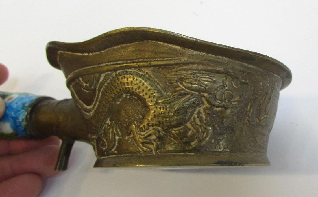 CHINESE DRAGON LADLE WITH ENAMEL HANDLE - 4