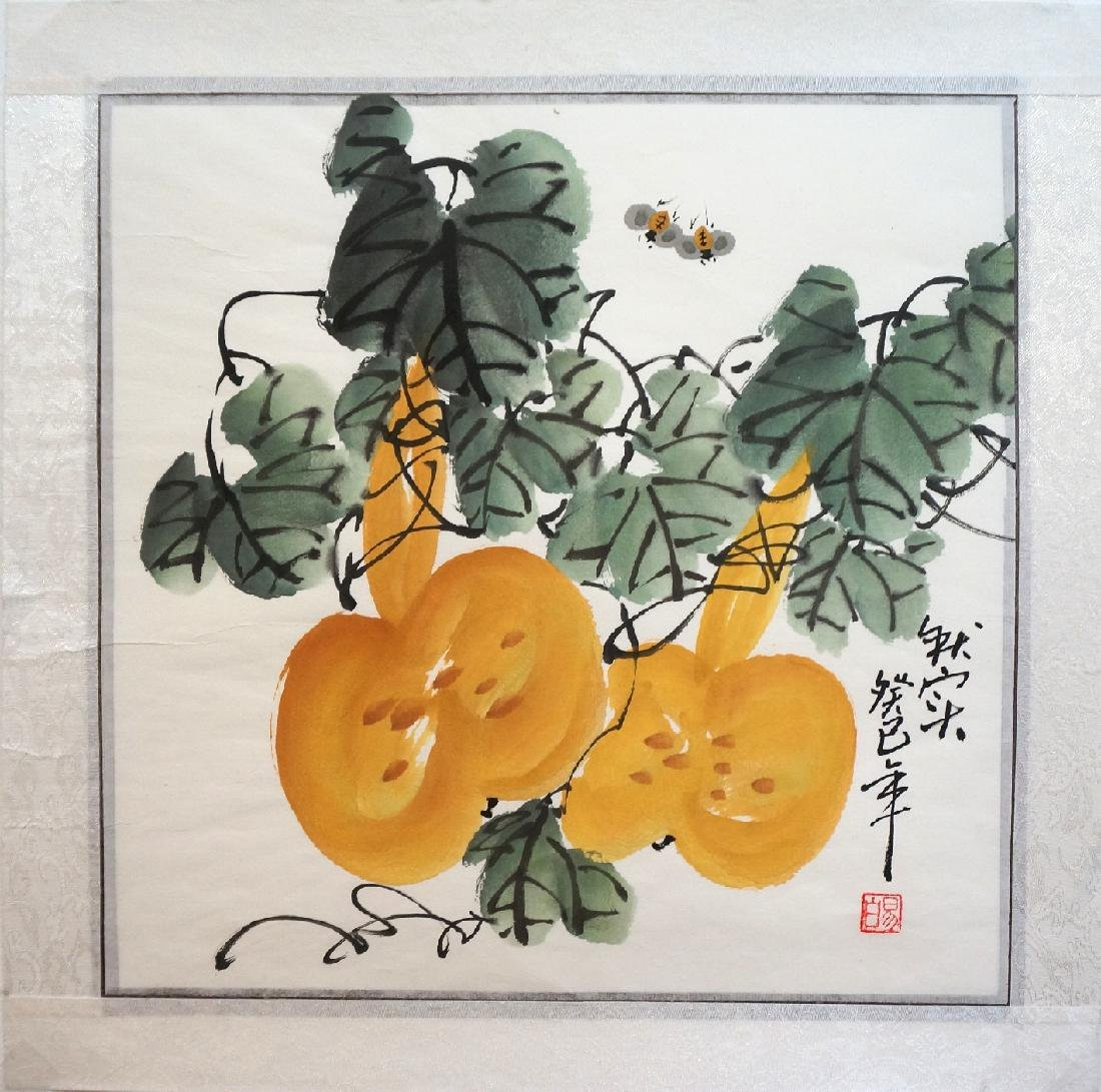 CHINESE WATERCOLOR OF BEES BUZZING ABOVE GOURDS