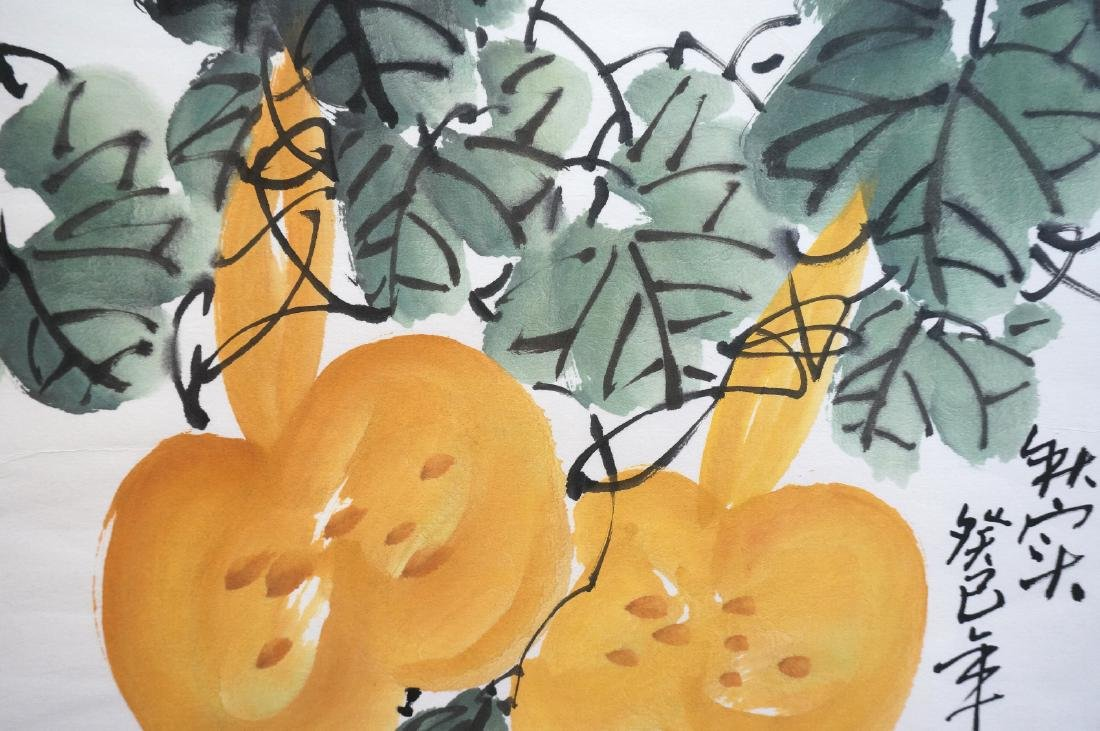 CHINESE WATERCOLOR OF BEES BUZZING ABOVE GOURDS - 2
