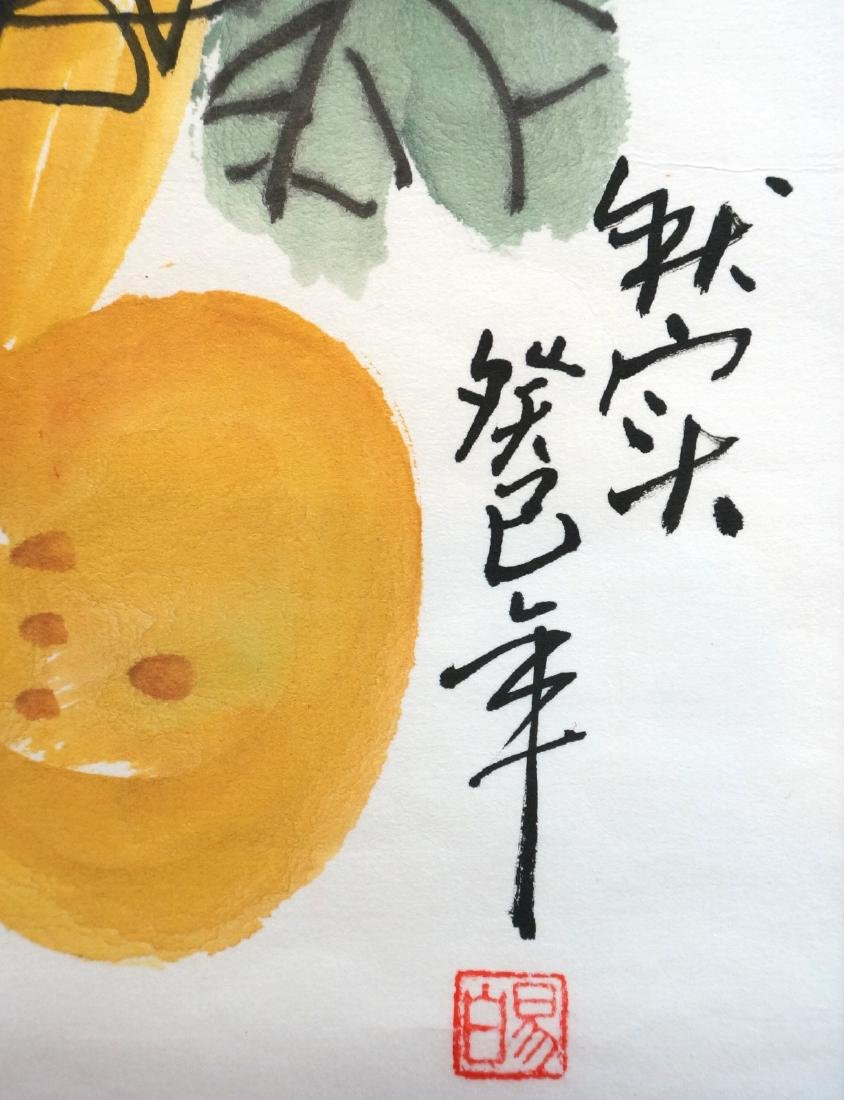 CHINESE WATERCOLOR OF BEES BUZZING ABOVE GOURDS - 4