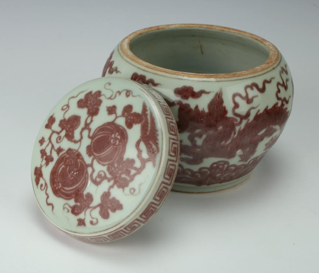 RED ON PALE CELADON DRAGON/PHOENIX JAR - 6