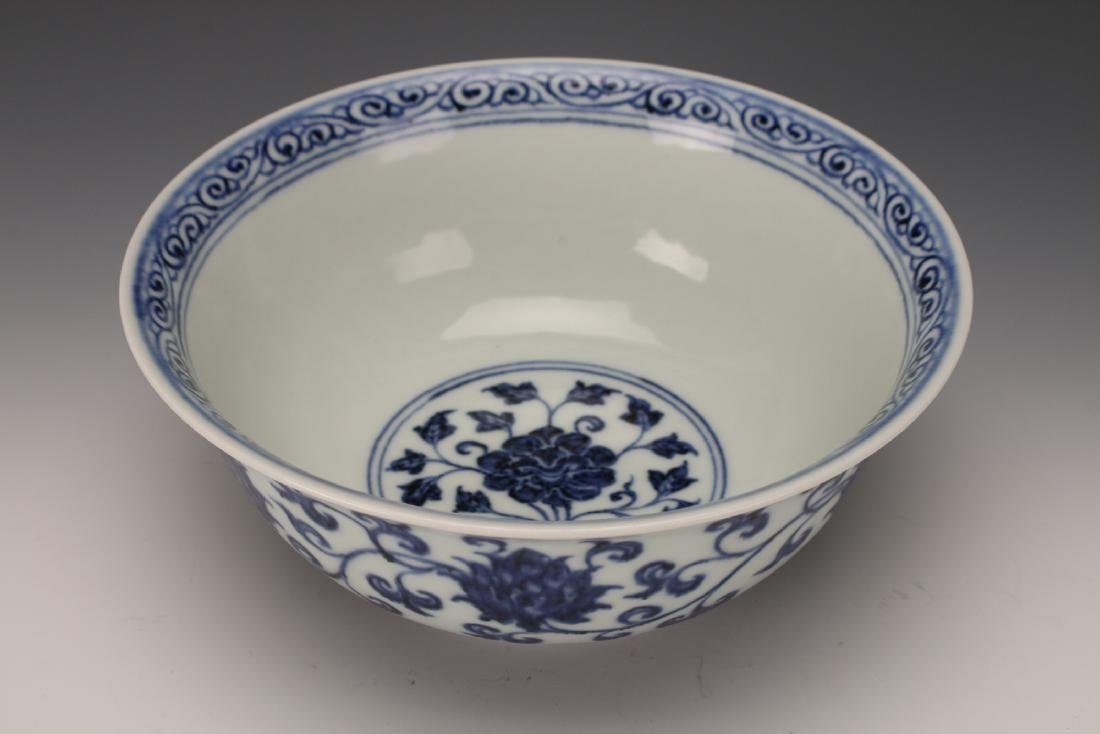BLUE AND WHITE MING DYNASTY BOWL - 3
