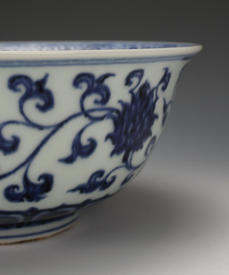 BLUE AND WHITE MING DYNASTY BOWL - 6