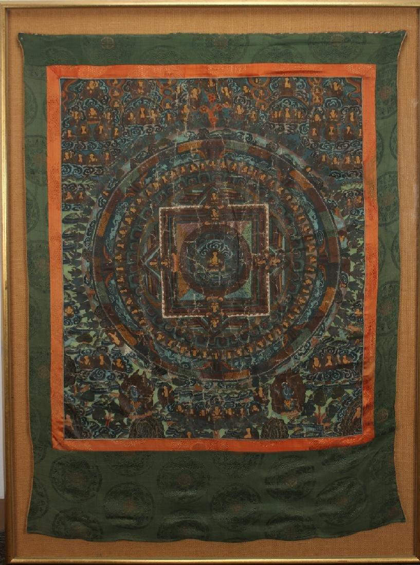 FRAMED 19TH/20TH CENTURY TIBETAN MANDORA THANGKA