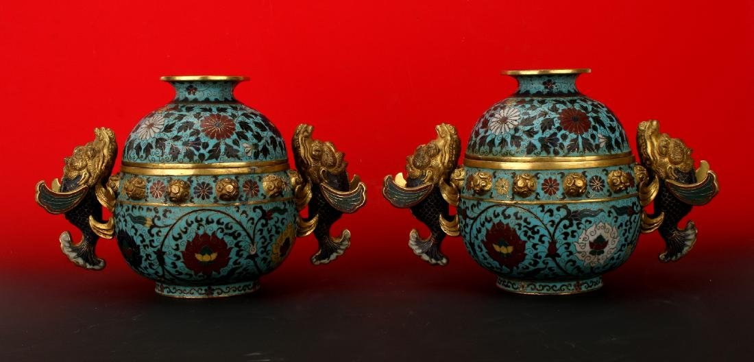 PAIR QING DYNASTY LIDDED CLOISONNE URNS