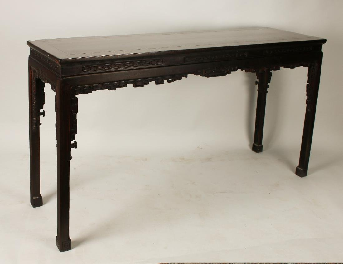 CARVED QING DYNASTY ZITAN PAINTING TABLE
