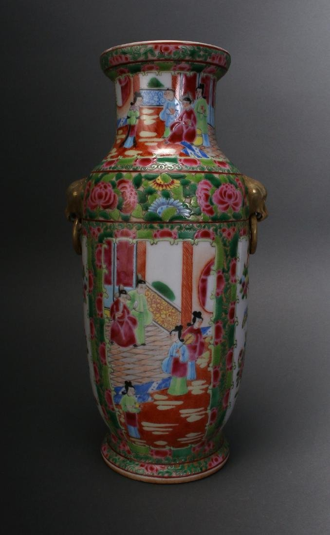 CHINESE ROSE MEDALLION EXPORT VASE