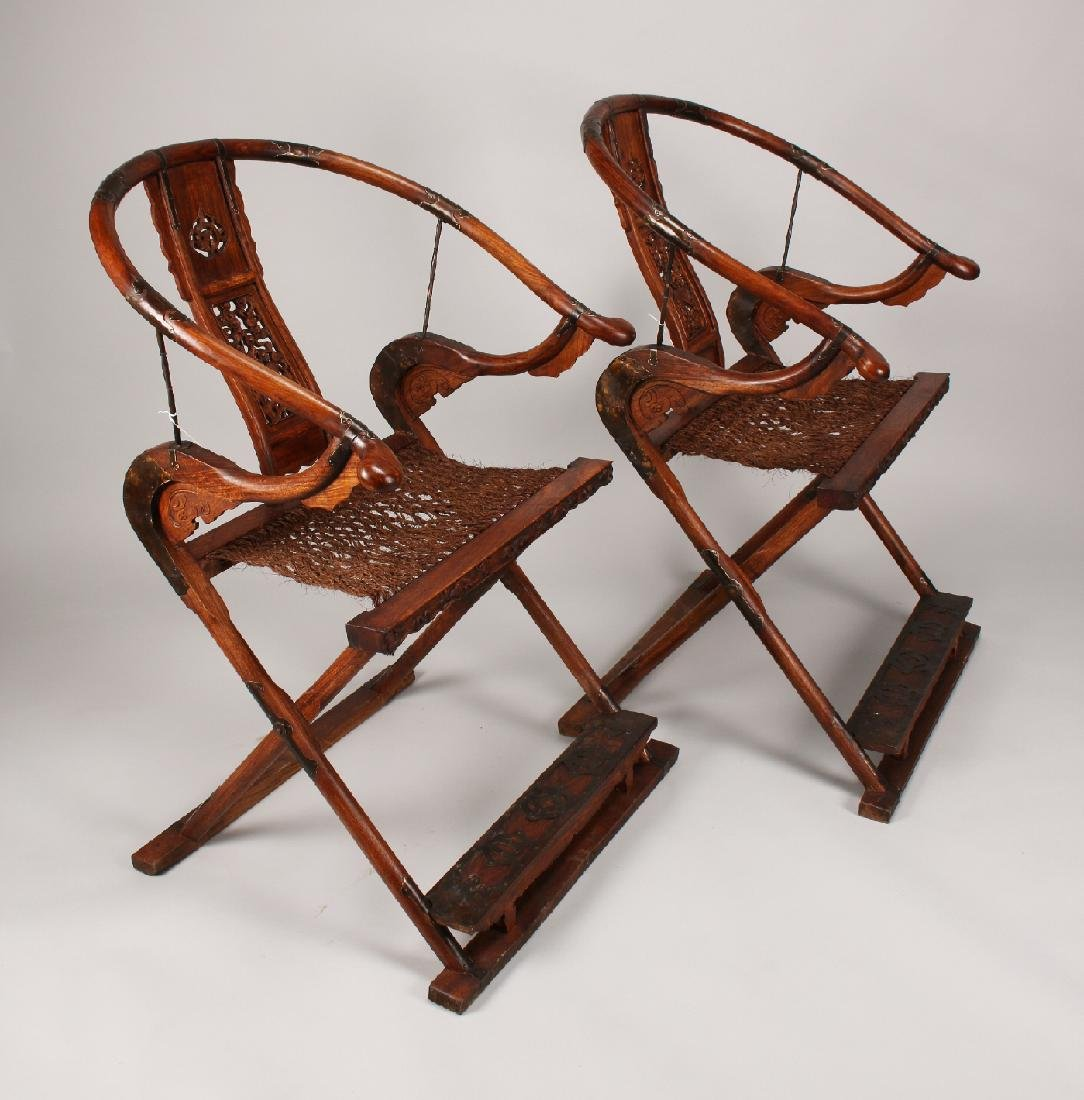 PAIR HUANGHUALI FOLDING CHAIRS