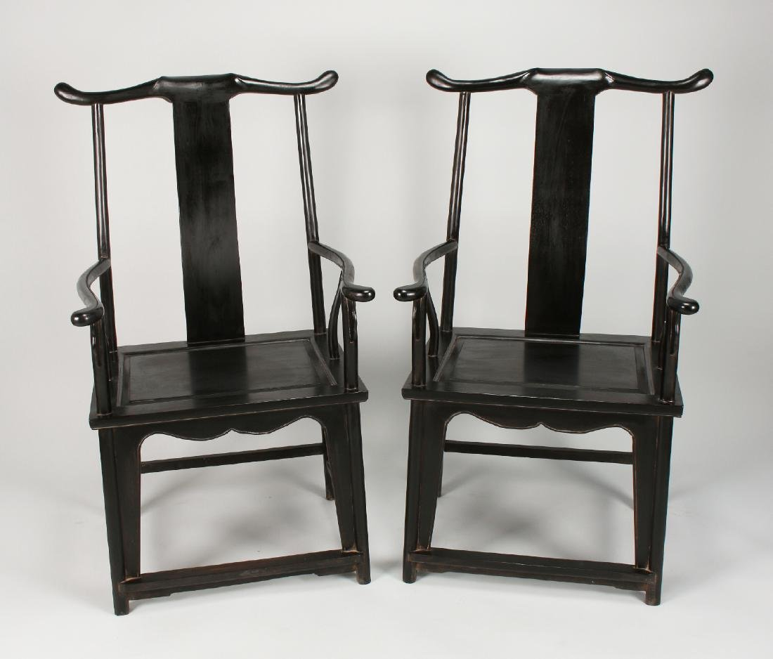 PAIR OF QING ZITAN OFFICER HAT CHAIRS