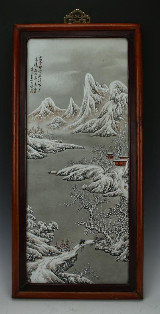 PORCELAIN PLAQUE OF MOUNTAIN WINTER SCENE