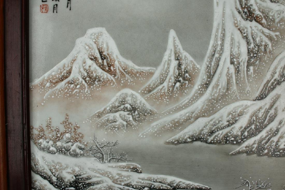 PORCELAIN PLAQUE OF MOUNTAIN WINTER SCENE - 4