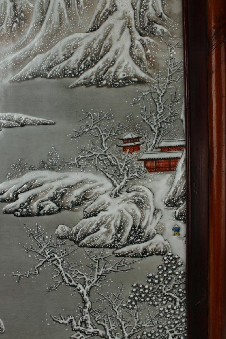 PORCELAIN PLAQUE OF MOUNTAIN WINTER SCENE - 5