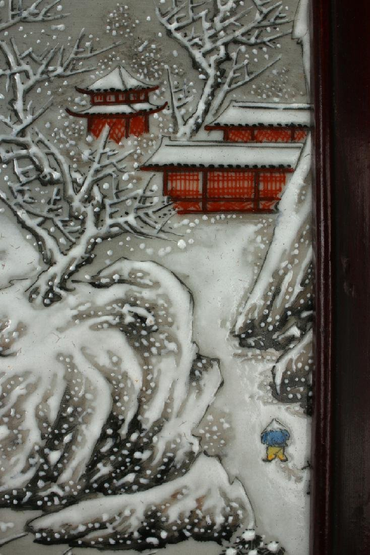 PORCELAIN PLAQUE OF MOUNTAIN WINTER SCENE - 6