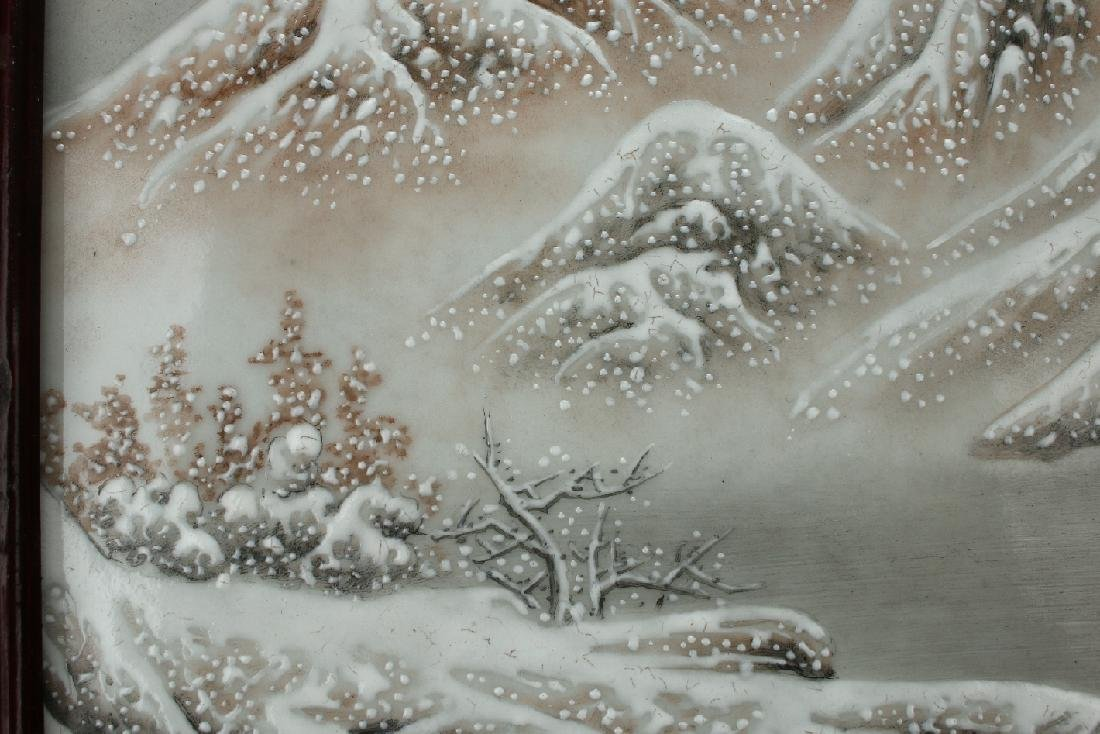 PORCELAIN PLAQUE OF MOUNTAIN WINTER SCENE - 7