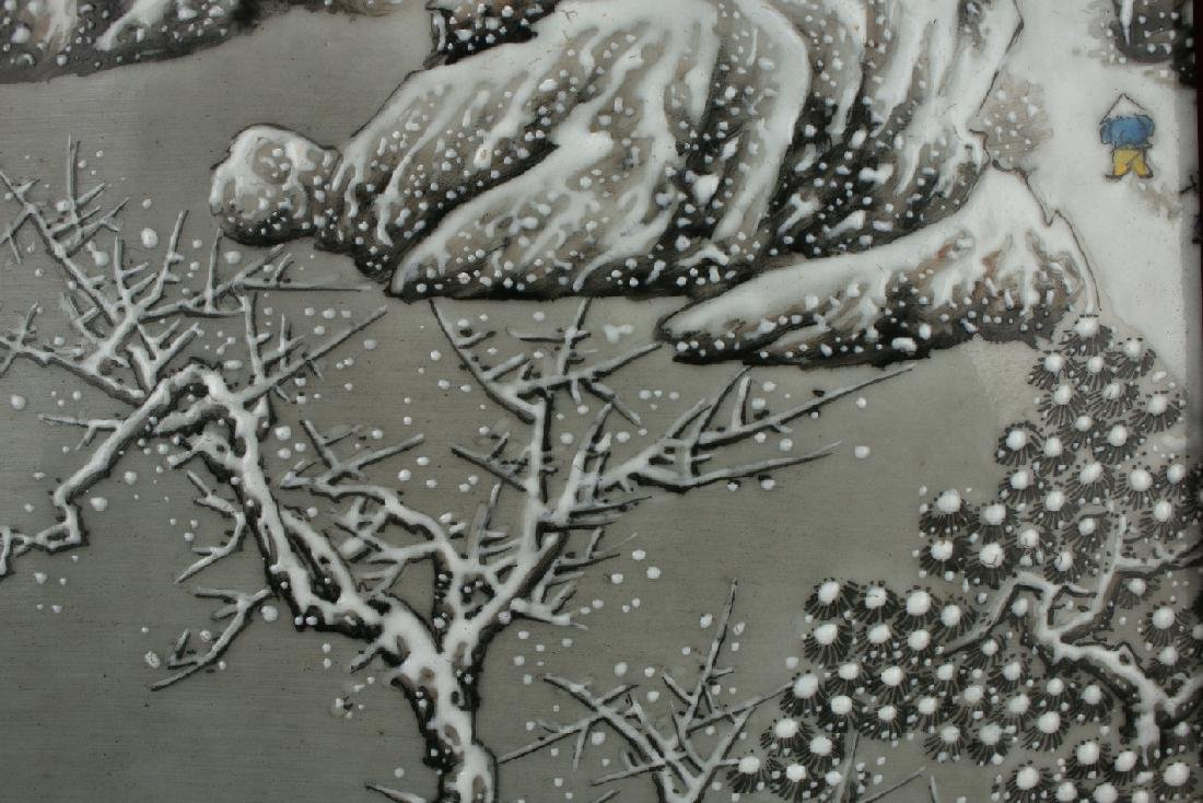 PORCELAIN PLAQUE OF MOUNTAIN WINTER SCENE - 8