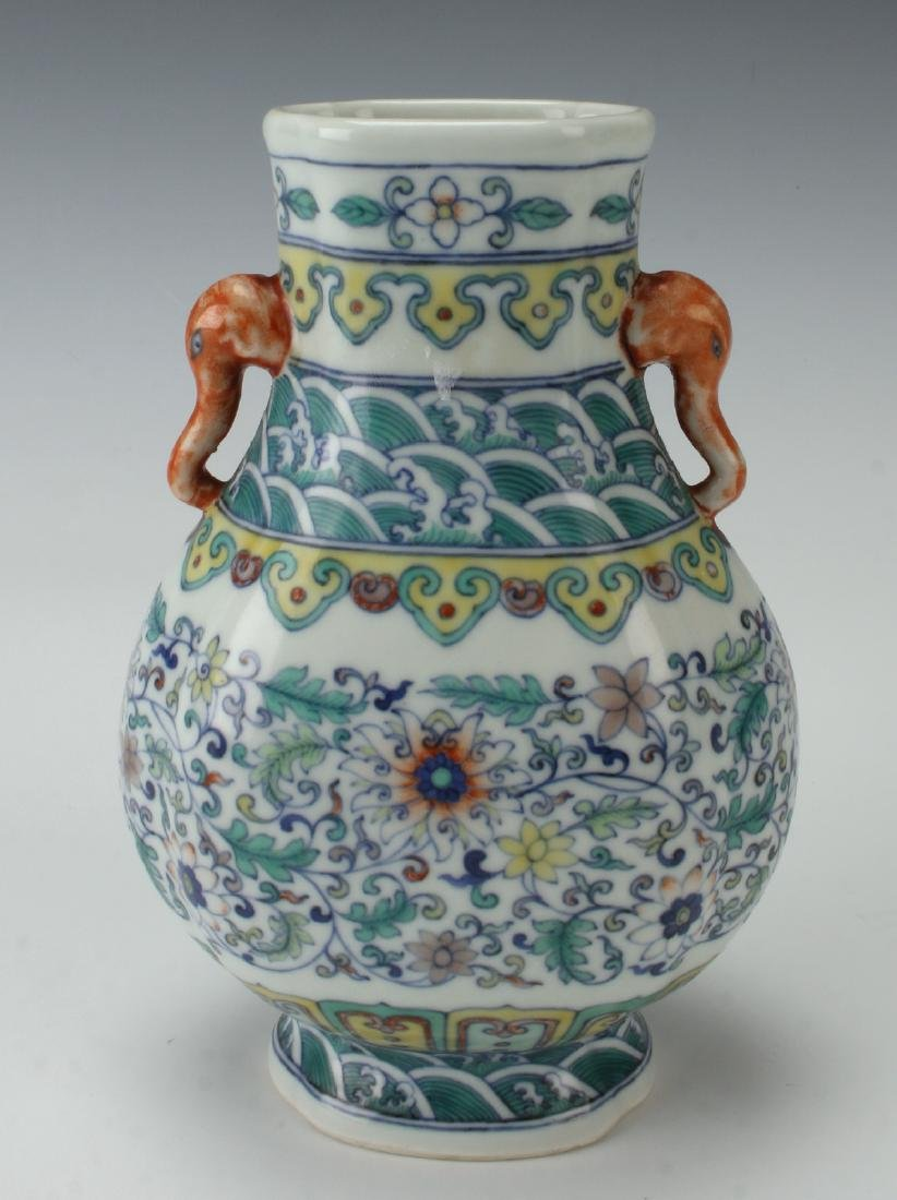 VASE WITH FLORAL & WAVE MOTIFS