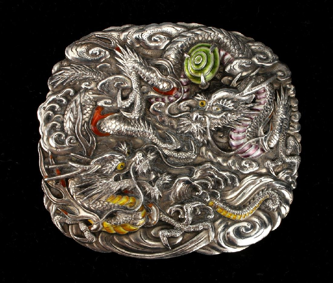 CHINESE SILVER & ENAMEL BELT BUCKLE
