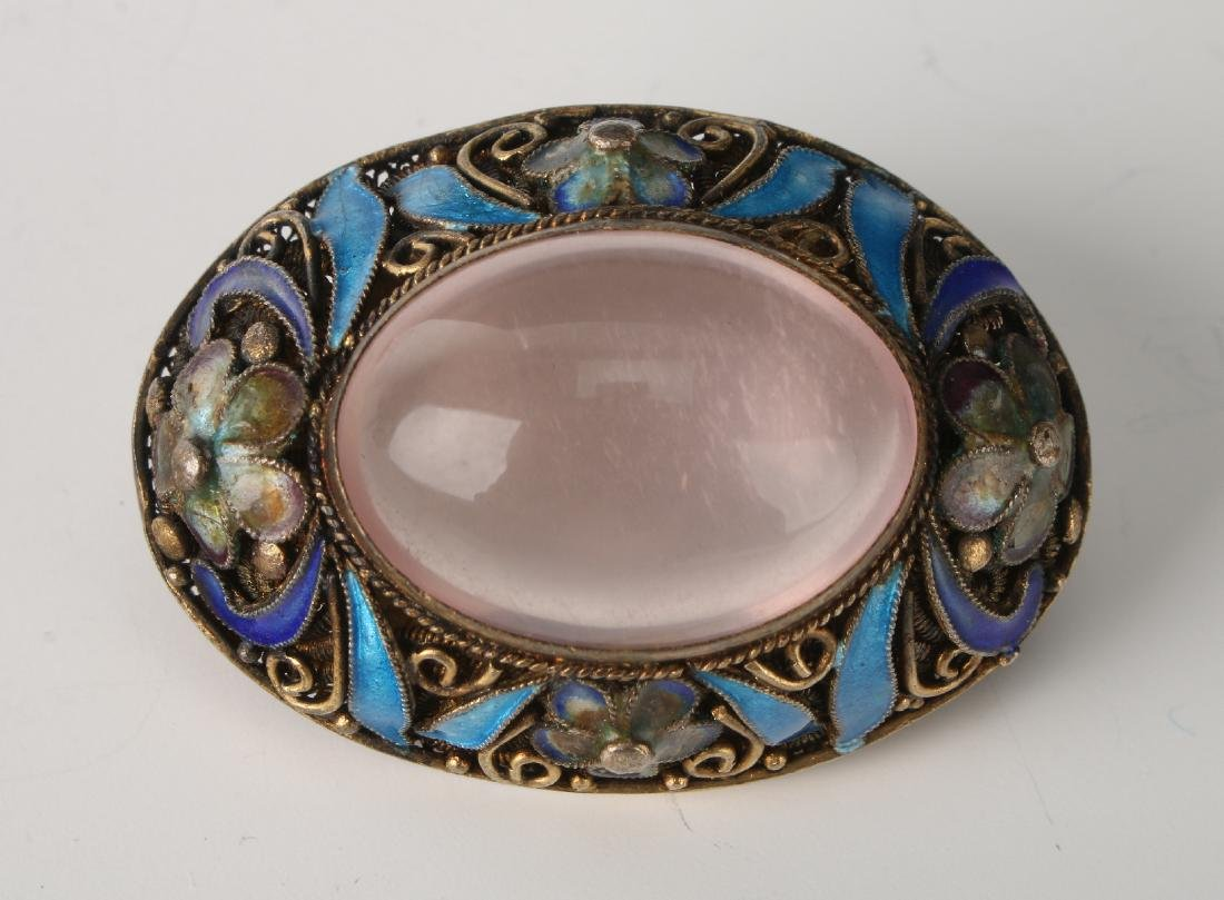 CHINESE SILVER, ENAMEL & ROSE QUARTZ BROOCH