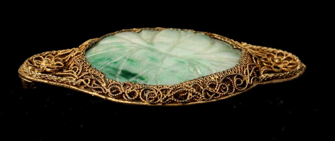 CHINESE JADEITE & FILIGREE PIN - 2