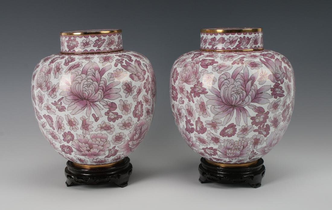 PAIR OF FINE PINK & WHITE CLOISONNE GINGER JARS