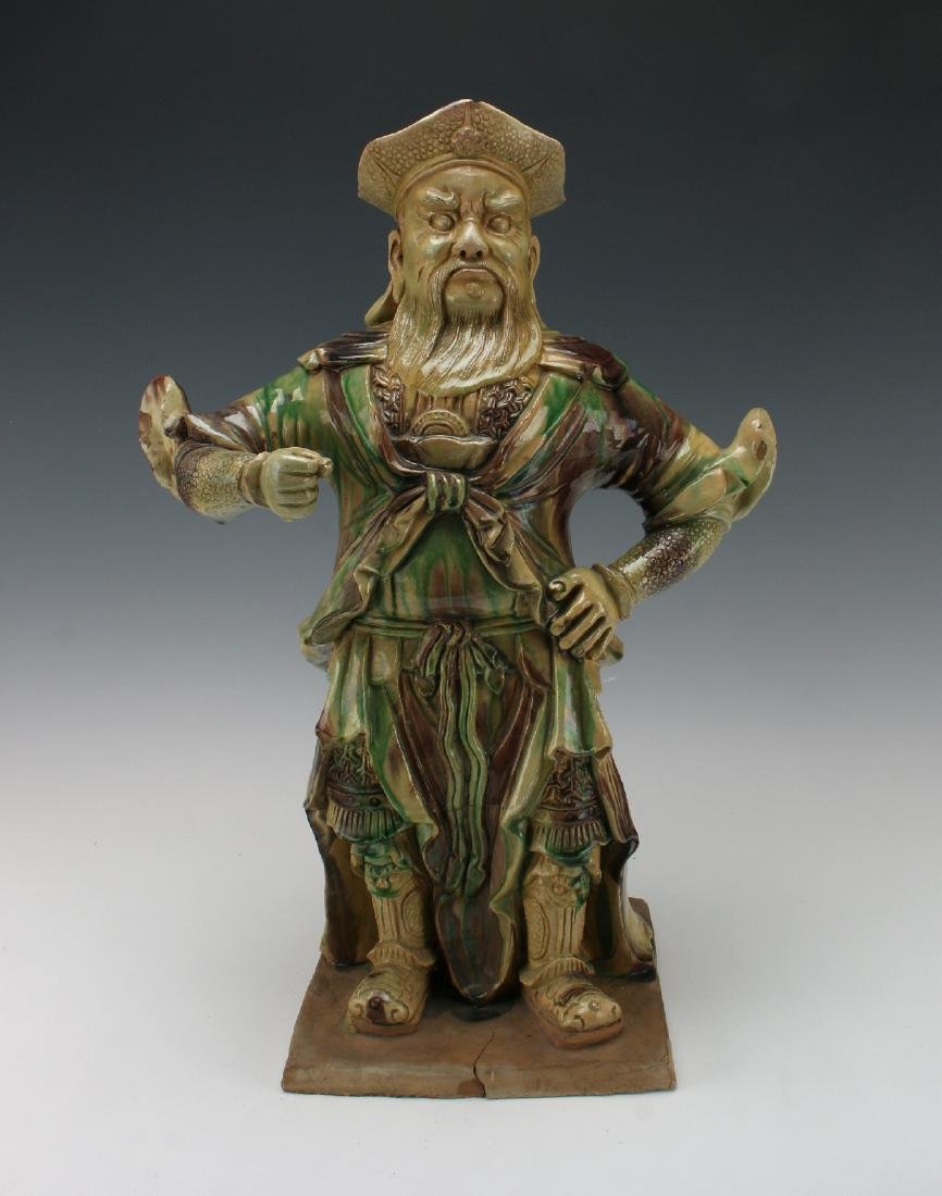 SANCAI THREE-COLOR GLAZE WARRIOR SCULPTURE