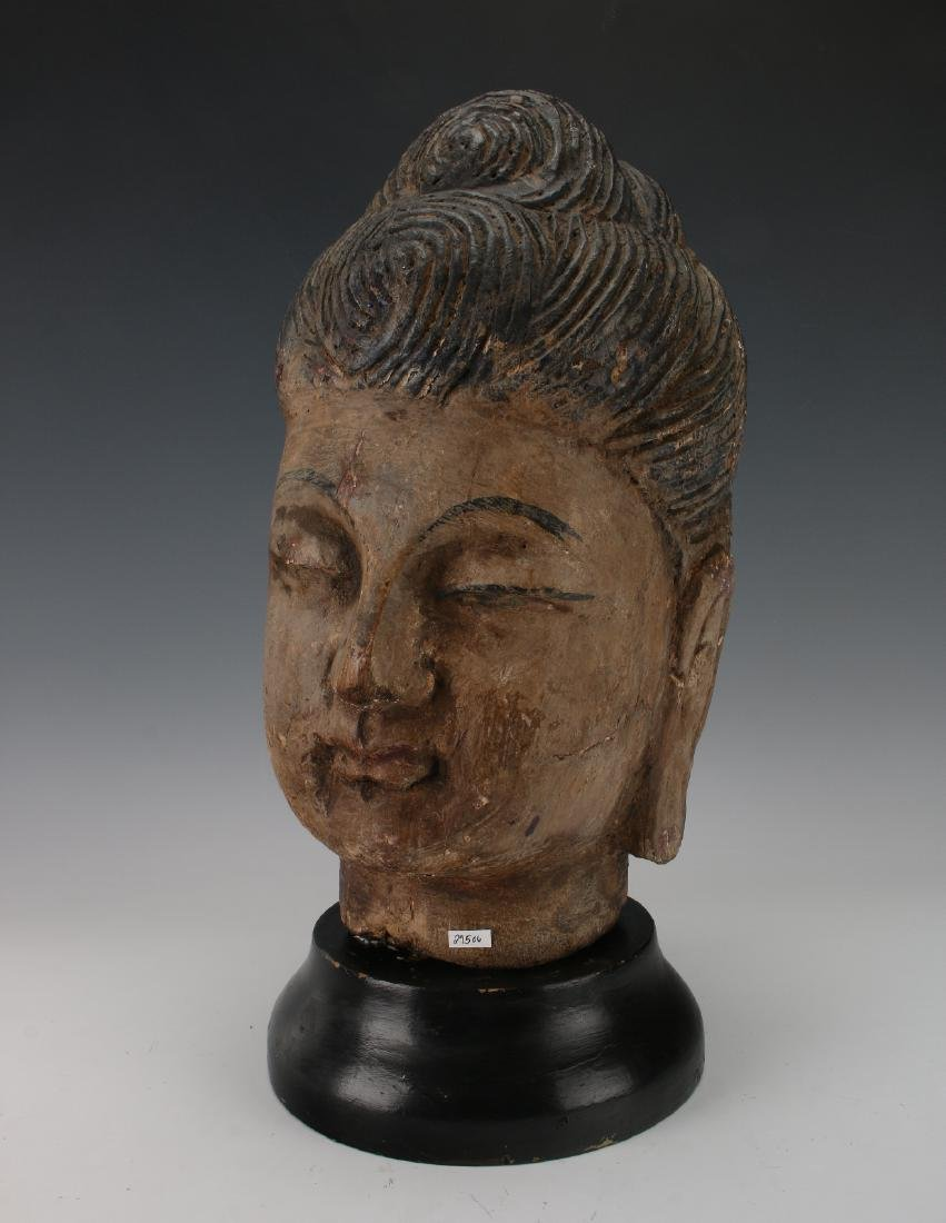 WOOD CARVED BUDDHA HEAD ON STAND